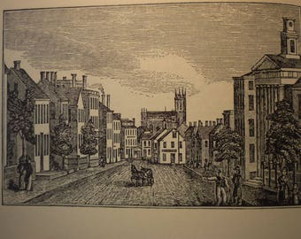Fall River Plymouth Massachusetts Town Engravings 1964 - New England Antiquarian Society - framable gift town history