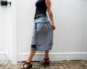 Upcycled Women Skirt Denim / Merino Wool Patchwork Sweater Skirt Recycled Skirt Hippie Boho Skirt M/L Women