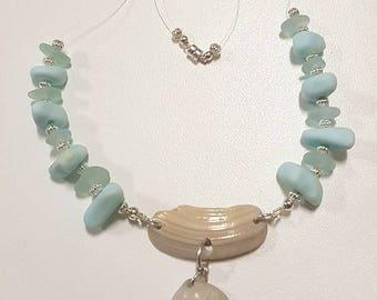 Baby Blue Milk & Regular Sea Glass Illusion Necklace