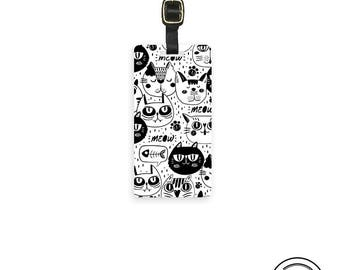 Luggage Tag Black and White Cats Tag Luggage Tag  With Printed Custom Info On Back Single Tag