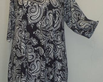 Plus Size Tunic, Coco and Juan, Plus Size Asymmetrical, Tunic Top, Black White Paisley, Traveler Knit Size 2 (fits 3X,4X)   Bust 60 inches