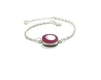 Ruby Bracelet , Genuine Faceted Ruby , Sterling Silver Bracelet , Ruby Jewelry ,  Gift For Her