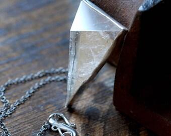 Pyramid Crystal Medallion Necklace