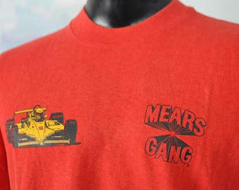 80s Vintage Tee TShirt Rick Mears Indy 500 Car Racing Bright Red LARGE