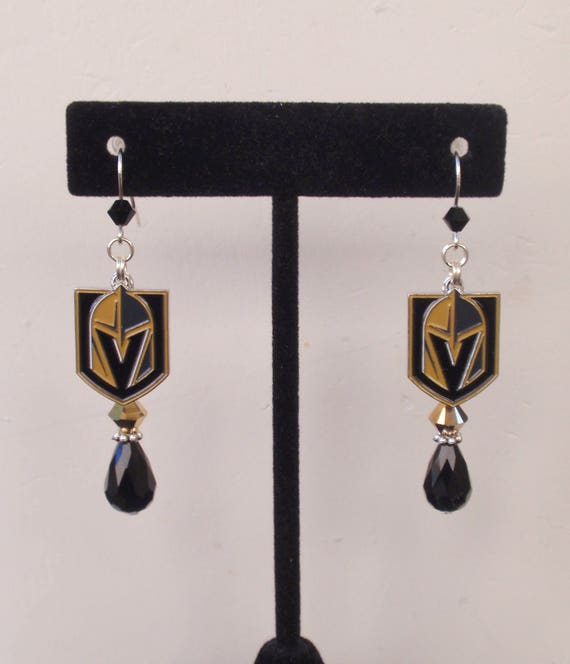 las vegas golden knights earrings lv knights jewelry black and