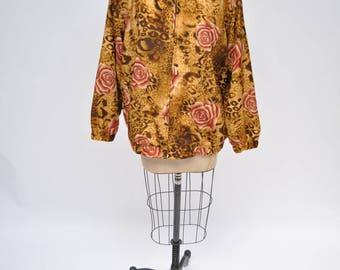 vintage jacket OVERSIZED womens LEOPARD print ROSES retro 1980s 1990s