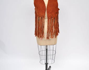 1970s vintage hippie suede leather FRINGE vest jacket gypsy boho