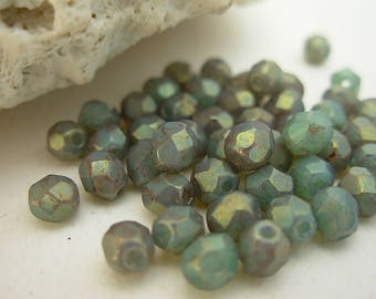 4mm Fire Polished Beads, Czech Glass Beads- Milky Turquoise- Pink Topaz Luster (50)