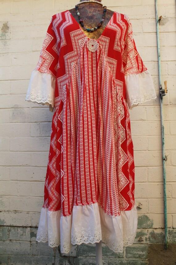 X Large Dress/Repurposed Dress/Upcycled clothing/Fairy dress/Large Sundress/LunarMoon  Music Festival Dress/Plus Size Dress black and Tan