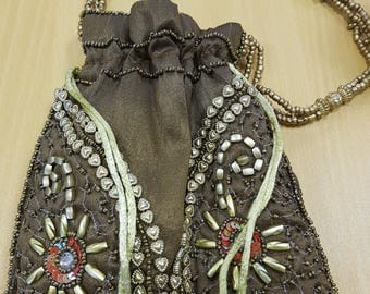 vintage indian bag, bronze colour, boho beaded bag, brown indian purse, heart shape beads