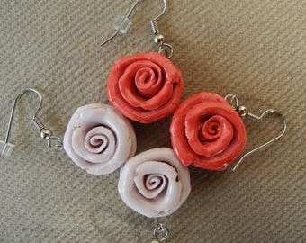 SALE - Lilac or Red roses - porcelain and surgical steel dangle earrings