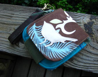 Minimalist Bird Wallet, Vegan Wallet, Eco-friendly Wallet, Waxed Ultra Suede and Cotton Wallet