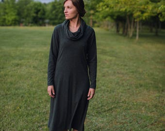 Womens Jersey Knit Cotton long sleeve Dress -Made to Order -Made in the USA -Firefly