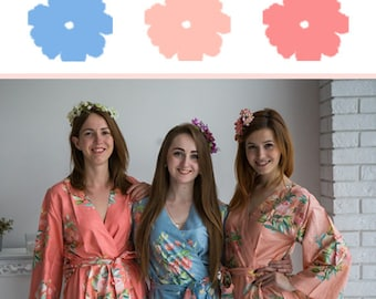 Dusty Blue, Peach and Coral Wedding Color Bridesmaids Robes - Premium Soft Rayon - Wider Belt and Lapels - Wider Kimono sleeves