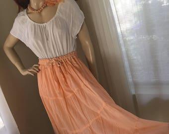 1970s Vintage Peach Rayon Ruffle Midi Skirt One Size Drawstring Waist