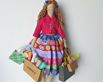Shopaholic doll Atelier patchwork doll decor sewing room cloth quilt rag doll littles by Bella home décor Home living ornaments &accents