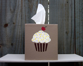 Cupcake Tissue Cover, Kitchen, Kids Room, Tissue Box Cover, Boutique Size, Home Decor, Fun Tissue Cover, Hand Painted, Tissues