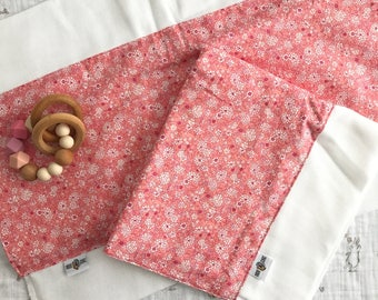 Oversized Burp Cloth - Classic Pink Floral Pattern   Boho Baby   Indie Baby