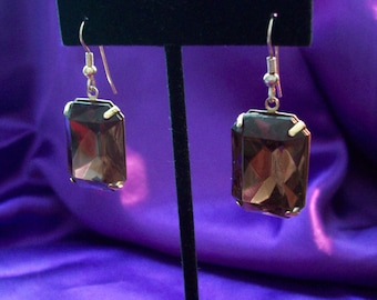 Vintage Faux Faceted Smokey Topaz Earrings
