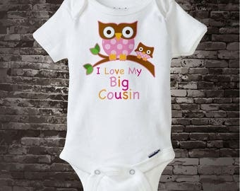 Girl's I Love My Big Cousin, Little Cousin Owl Tee Shirt or Onesie Pregnancy Announcement 09302014a