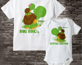 Personalized Set of 2 Big Brother and Little Sister Turtles Tee Shirts or Onesies 09062012a
