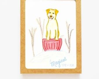 Dog on Toboggan Holiday Card Set of 8 - Christmas Dog Boxed Set - Dog Holiday Set Christmas Cards - Dog Hanukkah Card Set