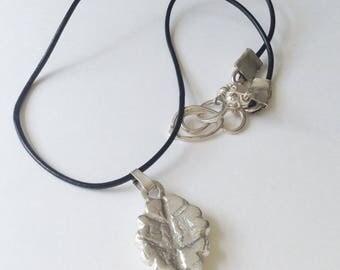 Sterling  Silver Botanical Leaf  Pendant Leather Necklace