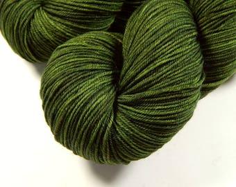 Hand Dyed Sock Yarn - Sock Weight 4 Ply Superwash Merino Wool Yarn - Moss Tonal - Knitting Yarn, Fingering Yarn, Wool Yarn, Olive Green