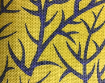 """SALE - 90s Free Spirit """"Sunshine & Shadow"""" Periwinkle Sprigs on Soft Yellow Ground//All Cotton//OP"""