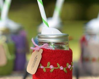 Quart size Felted wool mason jar cozy set red pint size