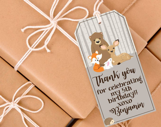 Woodland Favor Tag, Woodland Animals, Forest Friends, Fox, Baby Shower, Birthday Party | Editable Text - DIY Instant Download PDF Printable