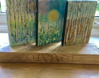 Original Art Paintings, Small mini Wood Blocks, Birch Trees, Set Of Three.
