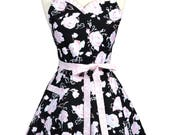 PLUS SIZE Sweetheart Pinup Apron - Black and Pink Rose Floral Flirty Retro Womans Vintage Inspired Kitchen Apron (DP)