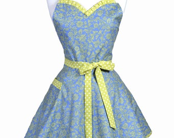 Sweetheart Pinup Womans Apron - Periwinkle and Lime Green Polka Dot Swirls Retro Vintage Flirty Ruffled Kitchen Apron with Pockets (DP)
