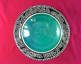 WEDDING GIFT, SERVING Bowl, Turquoise, Black and White  ,free pendant with each order
