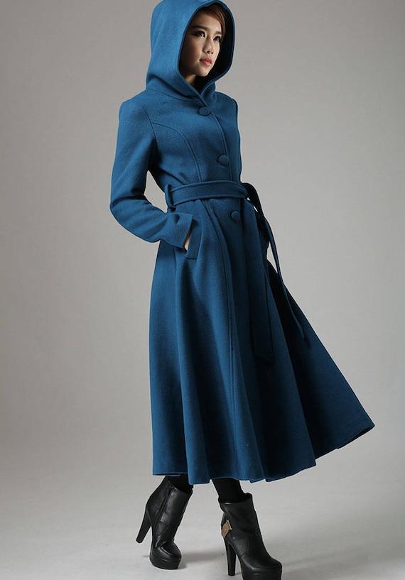 Blue coat wool coat swing coat womens coat long coat