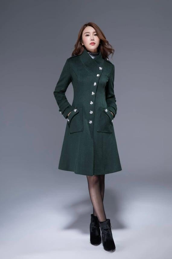 woman wool coat pocket coat dark green coat winter jacket