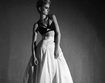 White Matte Satin Wedding Skirt/Aline Separates Modern Bridal