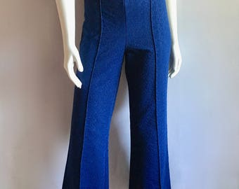 Vintage Women's 70's Bell Bottom, Polyester Pants, High Waisted, Navy Blue (L)