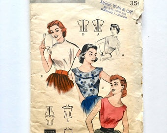 Vintage Sewing Pattern, Women's 50's Partially Uncut, Butterick 6886, Blouses (XS)
