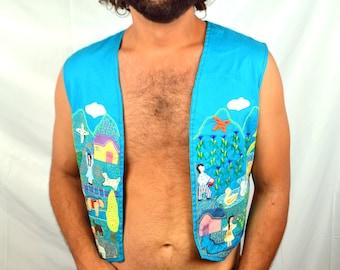 Vintage 80s Embroidered Ethnic Guatemalan Hippie Vest