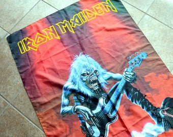 Vintage 90s 1993 Iron Maiden Wall Hanging Tapestry Italy