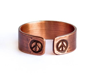 Peace Sign Ring - Handcrafted Stamped Copper ring with Brushed Matte Finish, Adjustable and Lightweight