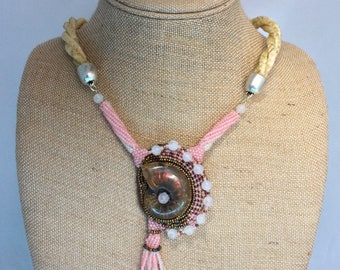 22 Inch Cream Horse Hair Braided Horsehair Necklace With Beaded Ammolite and Rose Quartz Pendant