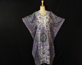 Caftan Muumuu Boho Hippie Geometric Cotton Dress One Size M - XXL