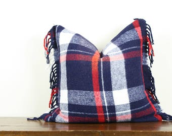 "20""x20"" Blue and Red Plaid Vintage Wool Pillow Cover with Fringe Detail 