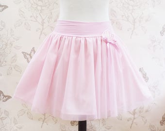 Cute kawaii pink mermaid  tulle skirt , jersey stretch belt with tiny shell brooch.