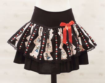Alice in wonderland  black skirt,  made with Alice black card suits, cheshire cat, red queen, white rabbit japanese prints