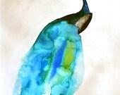 Peacock Art - Gift for Her - Peacock II - 8 x 10 Giclee Print - Watercolor Art Print