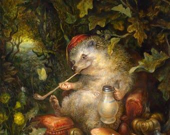Ale and Snails (print) hedgehog, beer, illustration, bar decor, artwork